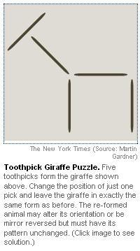Toothpick Giraffe Puzzle